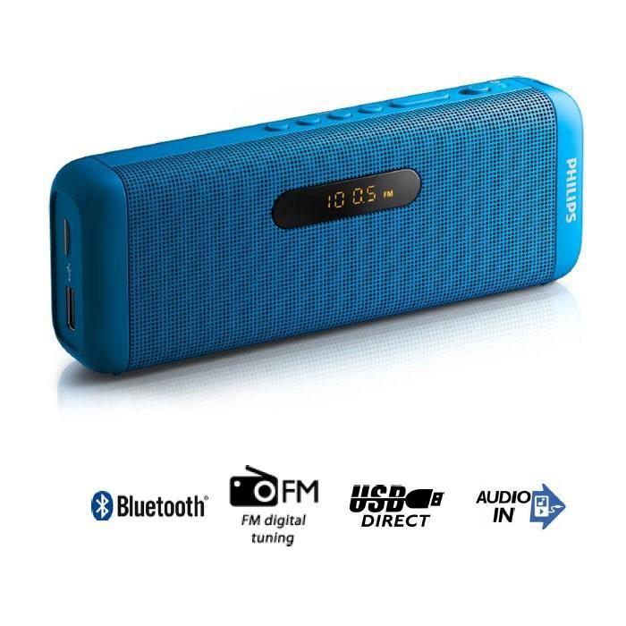PHILIPS SD700A Enceinte bluetooth portable bleu - Profitez de votre musique sans fil grâce au Bluetooth - Lecture facile des périphériques USB / cartes Micro SD - Radio FM numérique intégrée ...ENCEINTE NOMADE - HAUT-PARLEUR NOMADE - ENCEINTE PORTABLE - E
