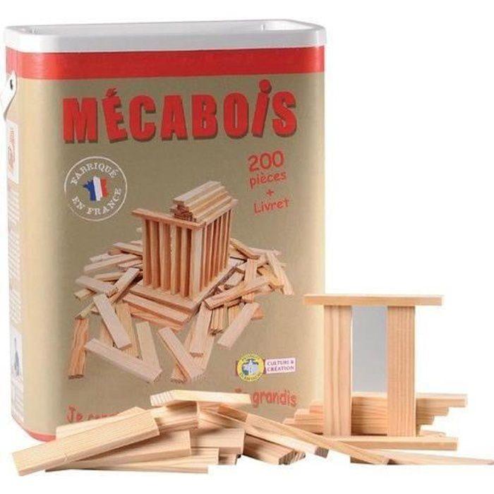 Mécabois - Baril de 200 pièces - Jeux de constructions planchettes en bois - Fabriqué en France