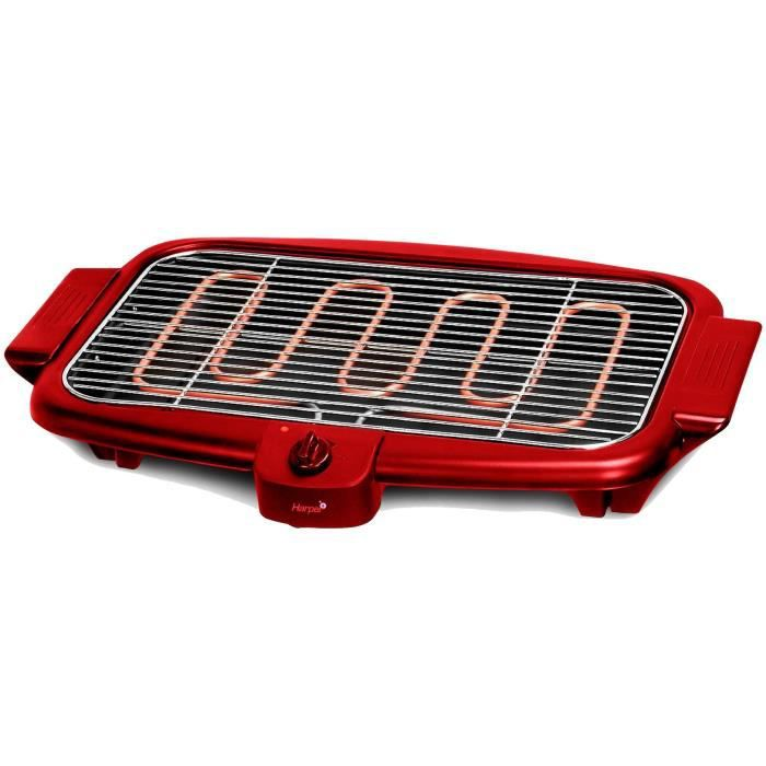 HARPER BQS800RED Barbecue Electrique - 2000W - Rouge