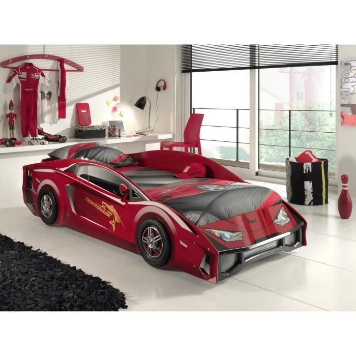 LAMBO Lit enfant voiture + sommier 90 x 200 cm - Rouge laqué - Achat ...