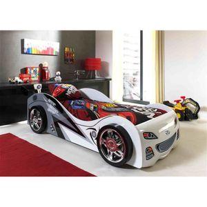 STRUCTURE DE LIT FUN Lit voiture enfant style junior blanc - l 90 x