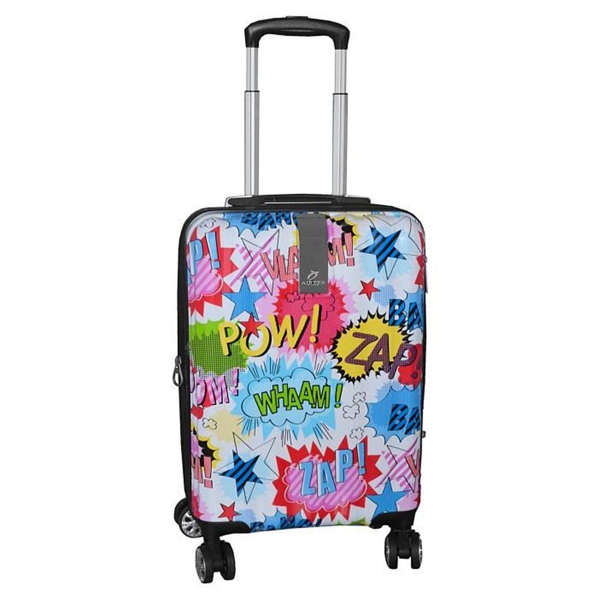 valise cabine 4 roues motifs couleurs bd paris airtex blanc blanc achat vente valise. Black Bedroom Furniture Sets. Home Design Ideas