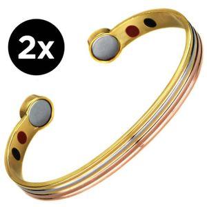 BRACELET - GOURMETTE lot de 2 Bracelet magnetique aimante Cuivre or arg