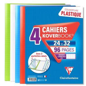 CAHIER CLAIREFONTAINE - Lot de 4 cahiers piqûres avec rab