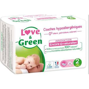Love And Green Couches Ecolabellisées Taille 2 36 Couches Blanc