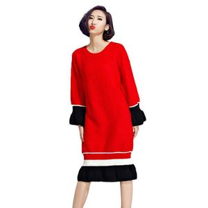 b62c564251750 Automne & Hiver Plus Size femme Robe pull rouge