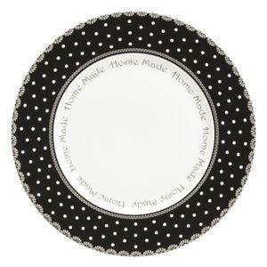 ASSIETTE Assiette plate en grès ronde à pois blanc   noir 2 c8b6d5fda047