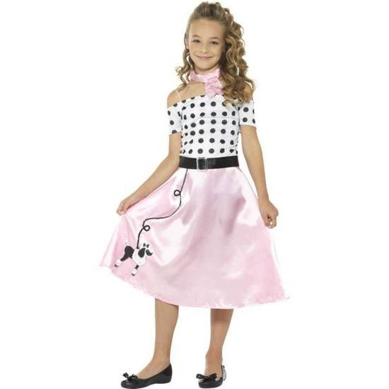 haut fonctionnaire utilisation durable jolie et colorée 50 ans Caniche fille Costume, rose, avec robe, cravate et ceinture - 24668T