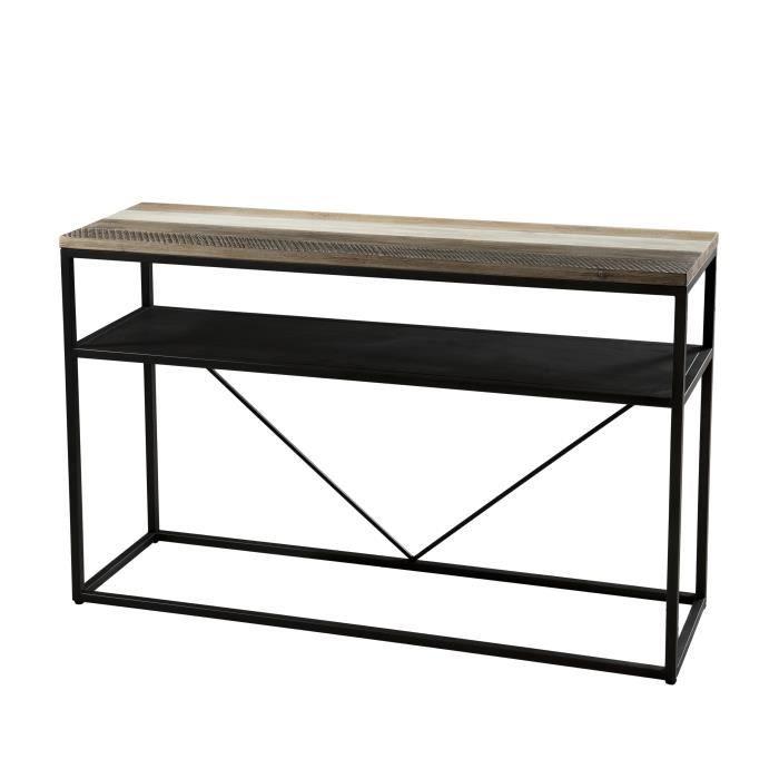 Console scandinave en bois acacia massif naturel, noir et blanc + pieds en métal noir - L 120 cm