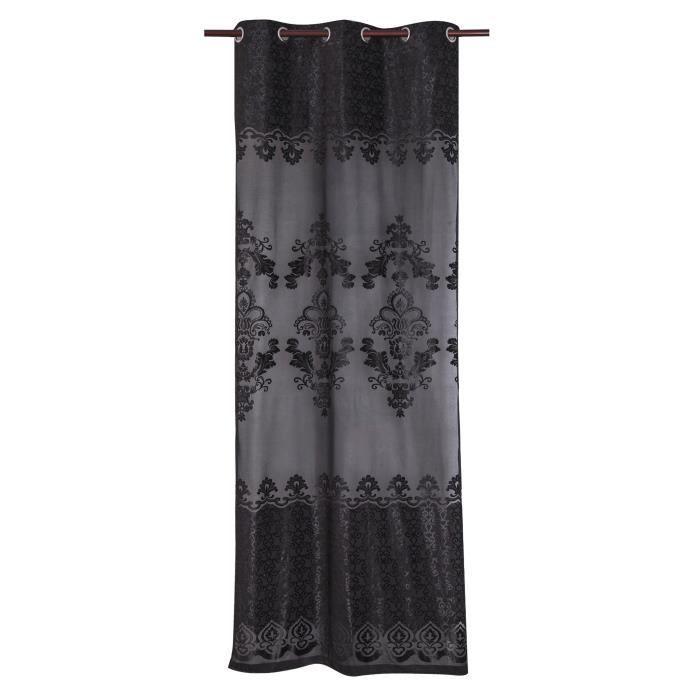 Matière : 100% polyester - Dimensions : 140x240 cm - Coloris : noir - Type d'attaches : 8 ŒilletsVOILE - VOILAGE
