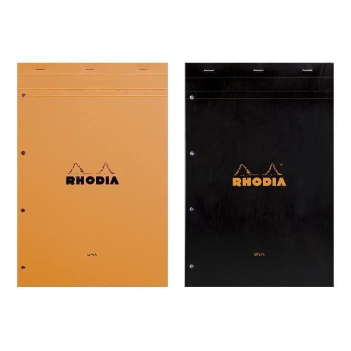 RHODIA - Bloc perforé - 21 x 31,8 - 80 pages Seyès - Papier Velin Surfin P.E.F.C 80G - 2 couleurs aléatoires (Lot de 3)