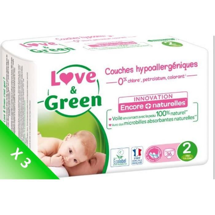 LOVE AND GREEN Couches écolabellisées T2 - 108 couches - Eco Pack