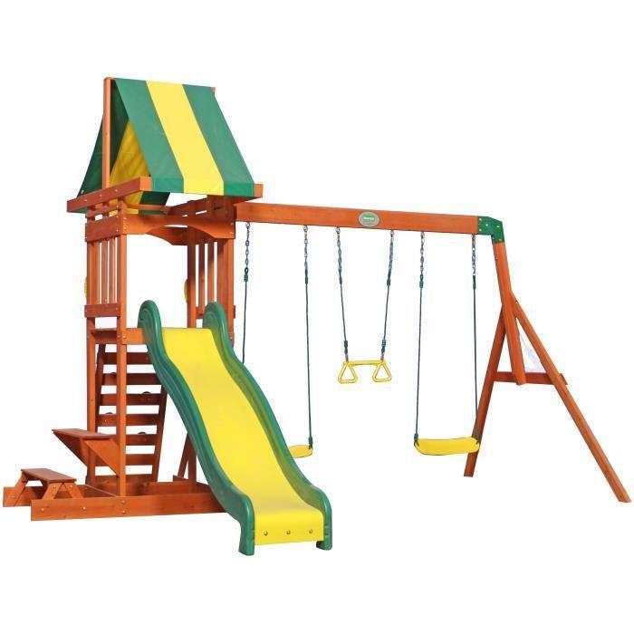 BACKYARD DISCOVERY Aire de Jeux / Balançoire Bois Sunnydale - 4 Agrès - Vert Jaune