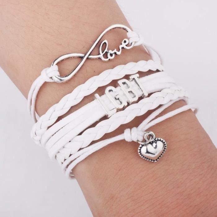 Mariage En Lgbt Blanc Personnels Pride Wrap Gay Bijoux Infinity Cadeaux Amour Charmes Bracel Bracelets Amitié Arc n0ONwvm8