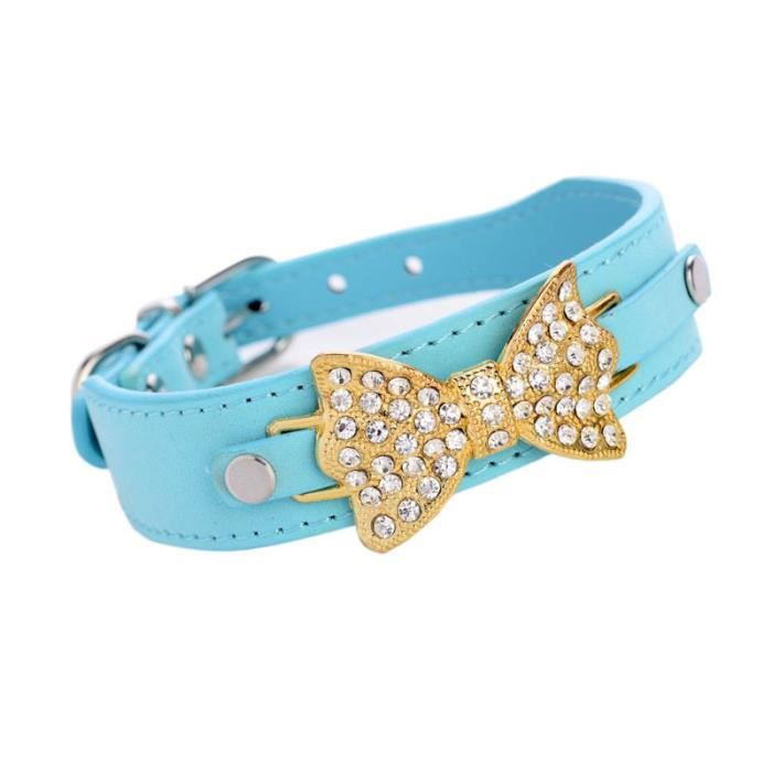 Chien Chiot Collier Chat En Cuir Bling Crystal Bow Bu - S@whicloud124