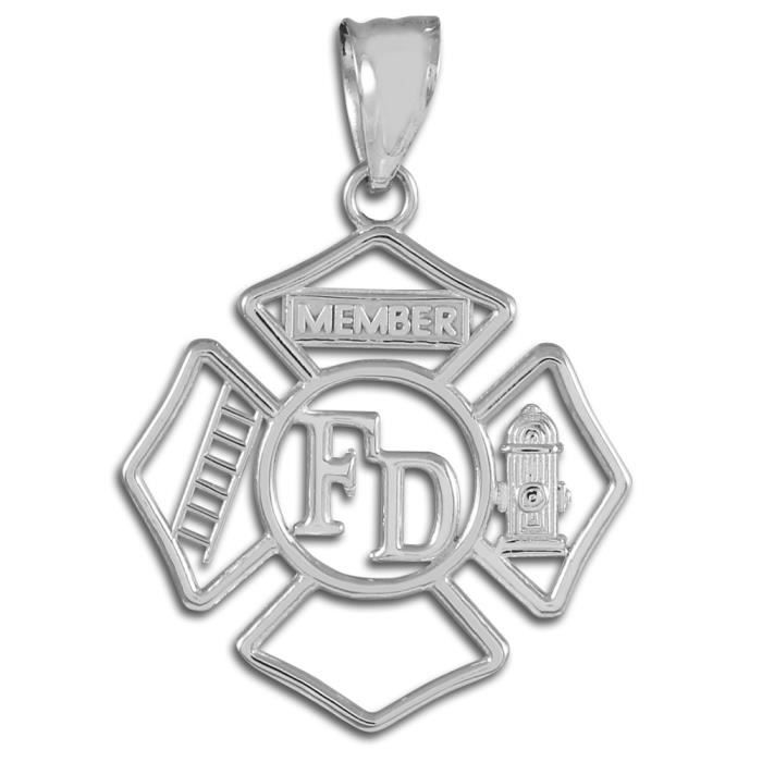 Collier Pendentif14 ct 585/1000 OrBlanc Fireman Insignia Ouverture