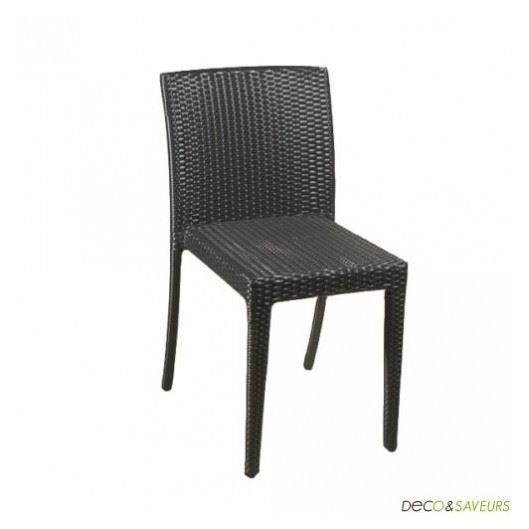 chaises en resine tressee noire x4 achat vente chaise cdiscount - Chaise En Resine Tressee