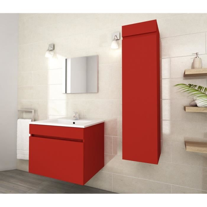 luna ensemble de salle de bain simple vasque 60cm rouge