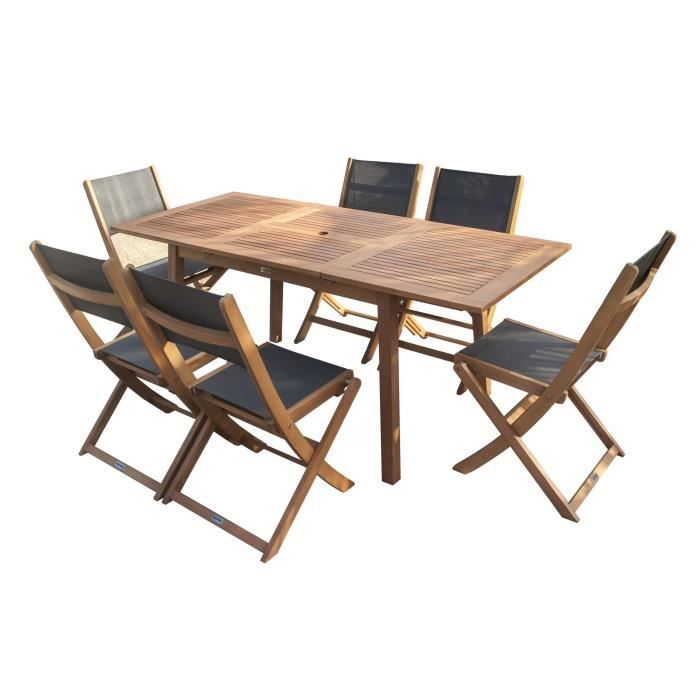 FINLANDEK - Ensemble table + 6 chaises en eucalyptus - 120-180cm ...