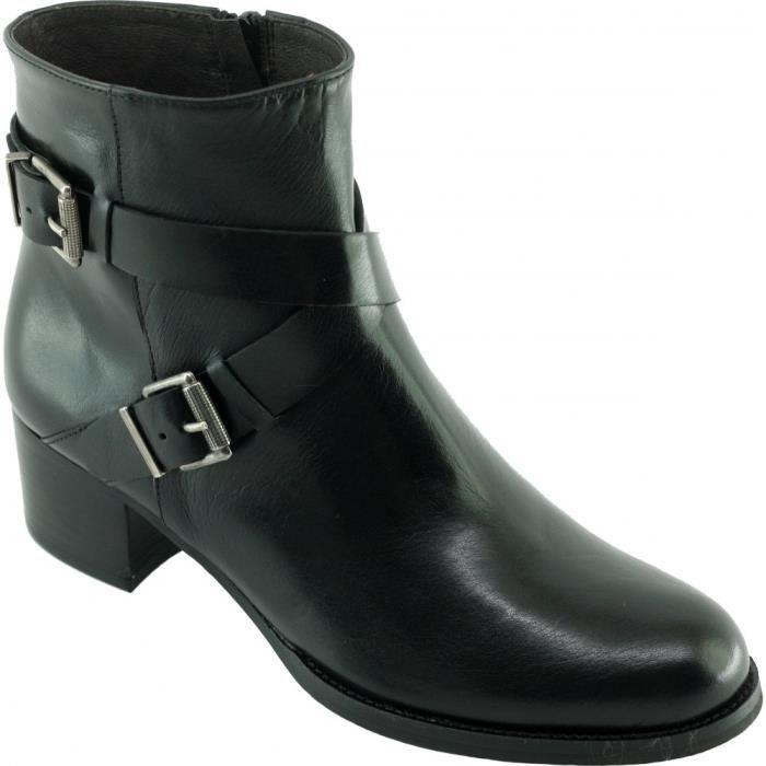 San Jaime – Bottine raffinée à boucles déco chaussures luxe boots petites pointures pour femme marque Plumers cuir patiné noir l2kAOuB