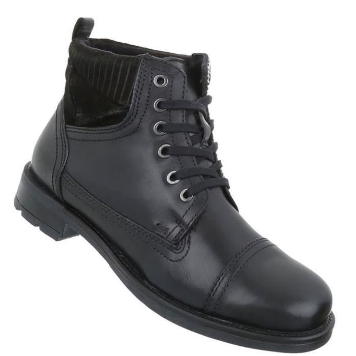 Chaussures Hommes Bottes laçage cuir bottillon noir 45