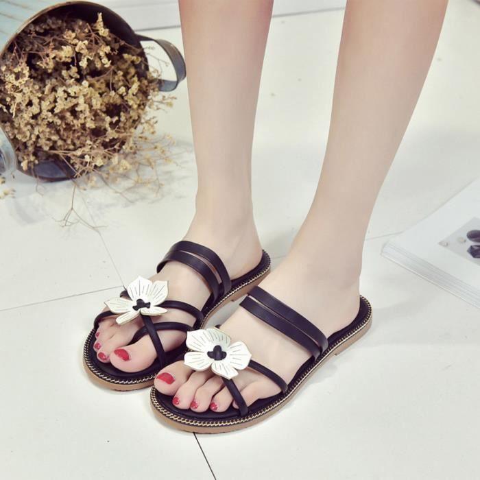 be90eafecbe90d Femmes Bohême Fleurs d'été Weave Sandales plage flip-Toe Peep Flops  Chaussures 6588