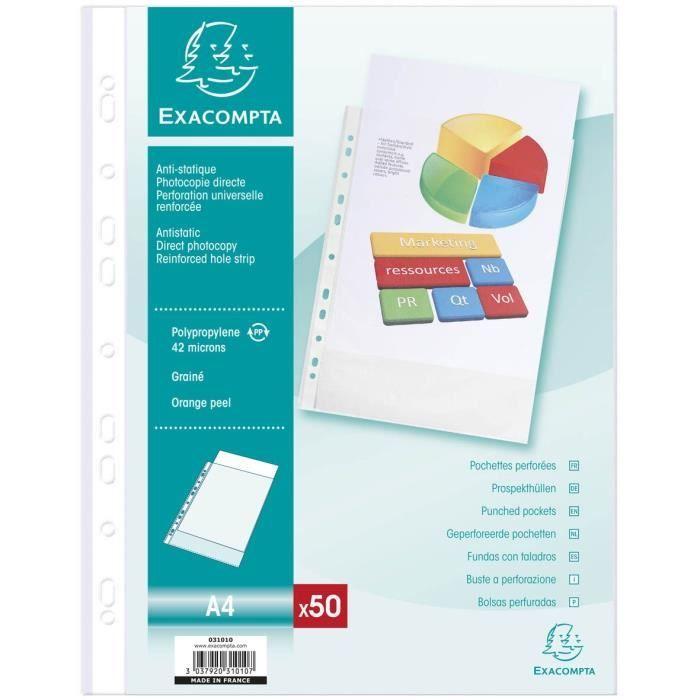 POCHETTE PLASTIQUE EXACOMPTA - 50 pochettes perforées - 21 x 29,7 - P