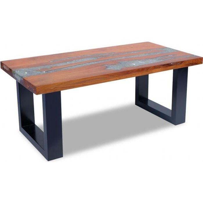 Vidaxl table basse teck r sine 100 x 50 cm achat vente for Table a repasser largeur 52 cm