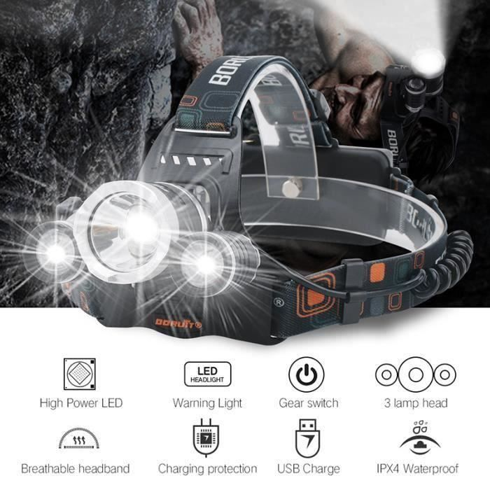 xcsource lampe frontale ultra puissante 6000lm 3 lampes cree xm l t6 led phare v lo avec. Black Bedroom Furniture Sets. Home Design Ideas