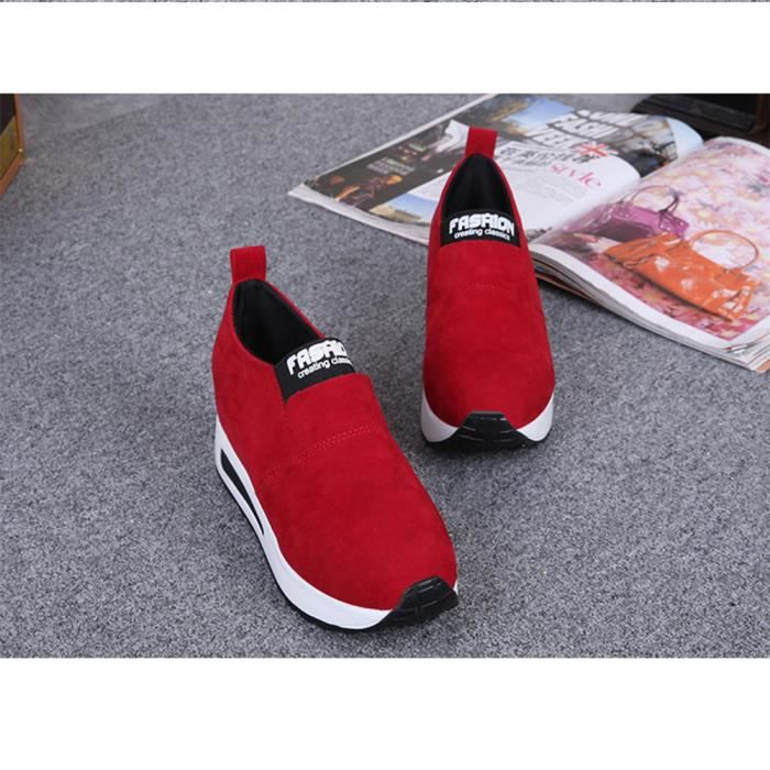 Mode féminine Automne Sauvage Chaussures à talons cachés Slip-on Chaussures Casual rouge XKO404 DzjN7za5yn