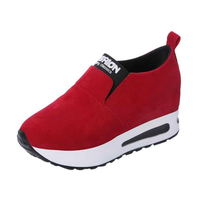 Sidneyki®Mode féminine Automne Sauvage Chaussures à talons cachés Slip-on Chaussures Casual rouge XKO404