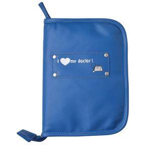 BABY ON BOARD Pochette Carnet de Santé Faux Cuir Bleu