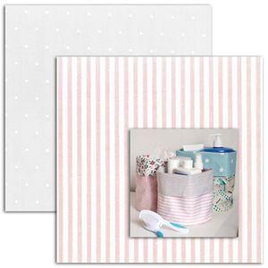 MLLE TOGA Mini kit pour réaliser un vide poche en coton enduit Naissance fille rose et gris