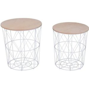 TABLE BASSE Lot de 2 tables basses gigognes rondes encastrable