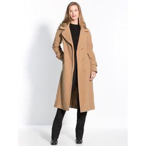 Manteau long en laine femme camel