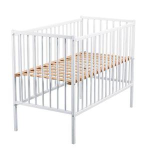 LIT BÉBÉ TINEO Lit bébé à Barreaux 60x120 cm blanc
