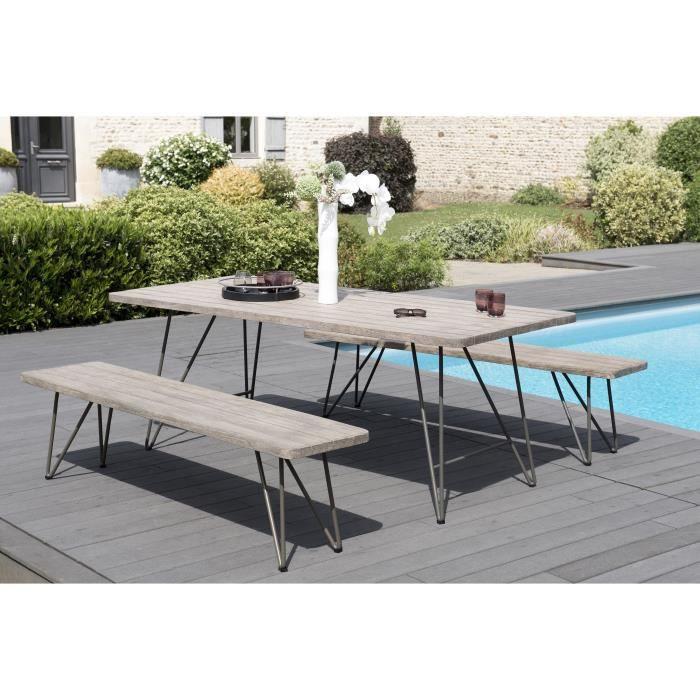 Ensemble de jardin en teck : 1 table à manger pieds...