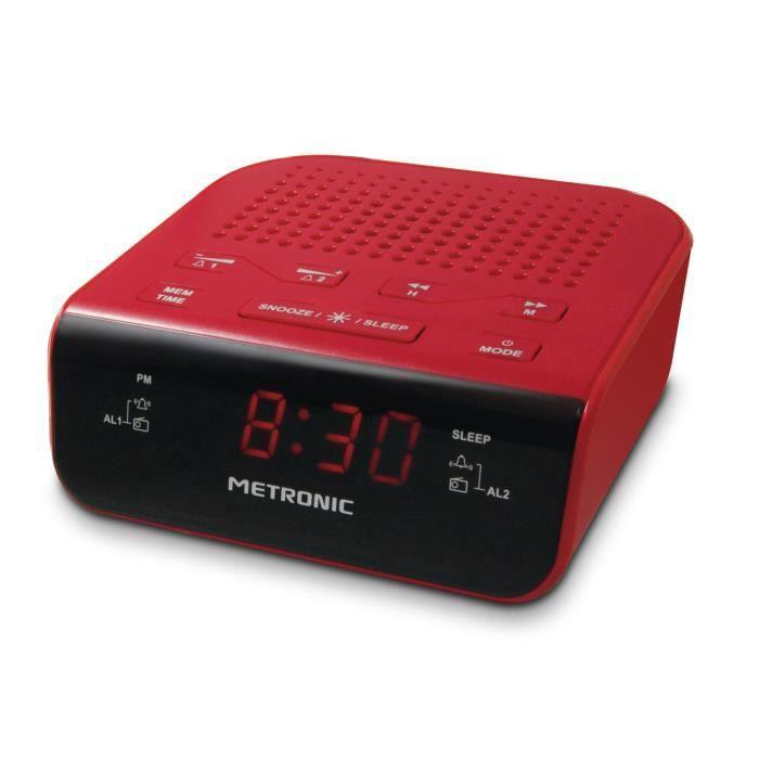MET 477011 Radio réveil Pop Red