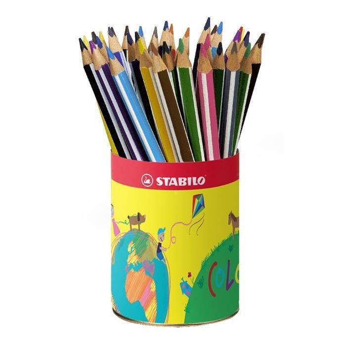 STABILO Trio - Pot métal - lot de 38 crayons de couleur