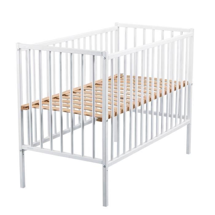 TINEO Lit bébé à Barreaux 60x120 cm blanc