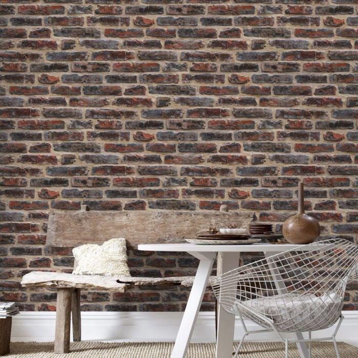 Papier Peint Design Mur De Briques Couleur Roug Achat Vente