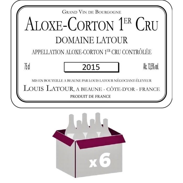 VIN ROUGE Lot de 6 Bouteilles Aloxe Corton 1er Cru 2015 Doma