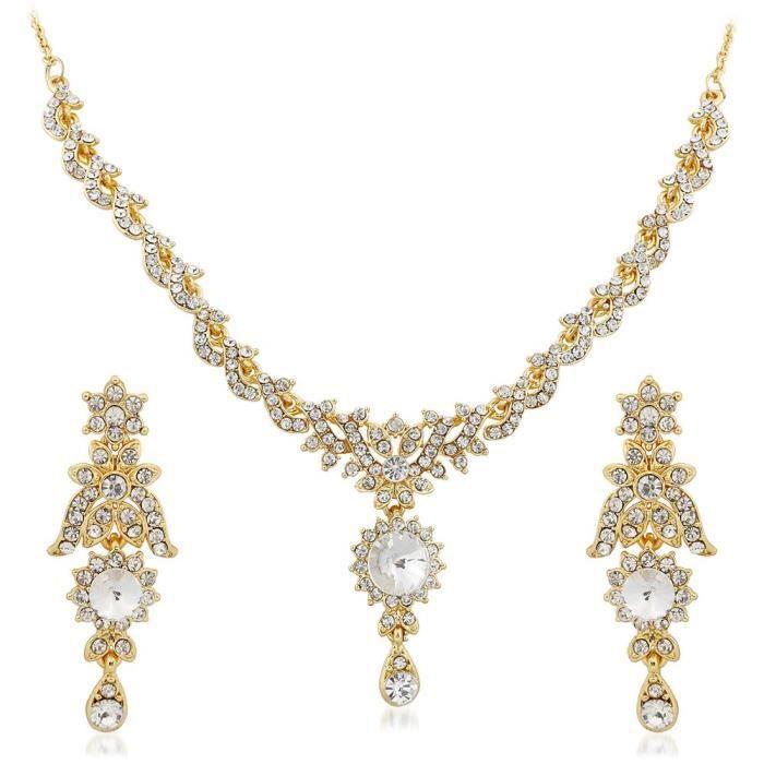Collier plaqué or féminin est avec le diamant autrichien PourFTI0P