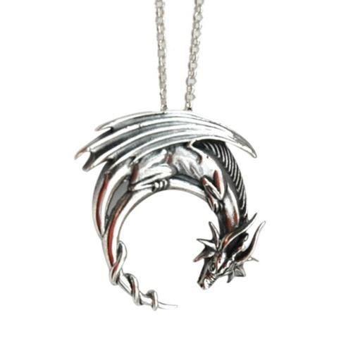 SAUTOIR ET COLLIER Collier argenté avec pendentif dragon en croissant