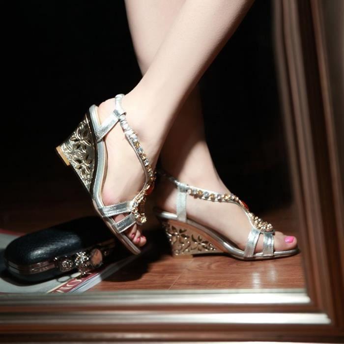Nouvelles famme 'argent strass bohème T-strap sandales compensées