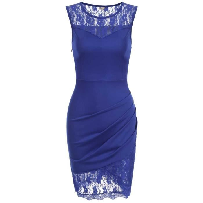femmes robe Casual O-cou sans manches côté plissé creux Patchwork dentelle élastique mince