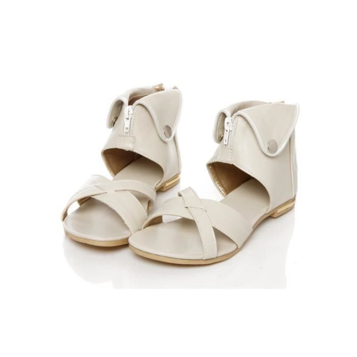 Sandales Clair 34 blanc Plus Marron Femme noir Plat T Dos Mode beige Fermeture 43 Taille 4q4XzrwF