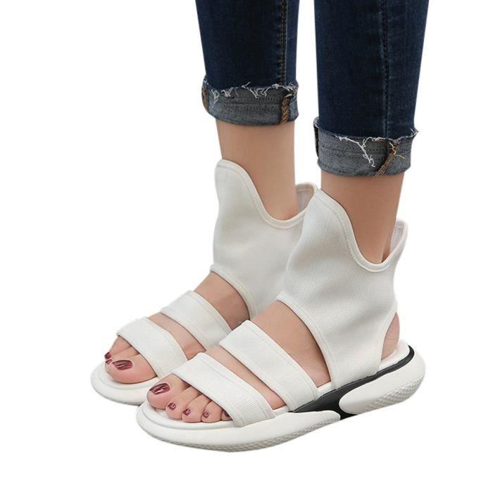 hot sale online d2d57 5c018 Vintage Femmes Tissu Secouer Chaussures dété Sandales bout rond Gao Bang  Chaussures plates blanc