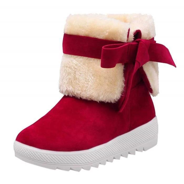 Fourrure Neige Boots Bowtie Epais Femme Hiver Neige Pour Laine Meilleure Antidérapage Vente bottes Talon bottes De Plat Avec qv0P0t8