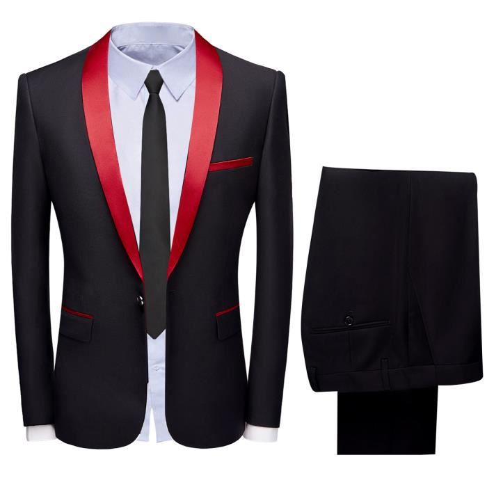 fc4c3d8b6654 Costume homme mariage 2 Pièces smoking homme ceremonie slim noir veste+ pantalon